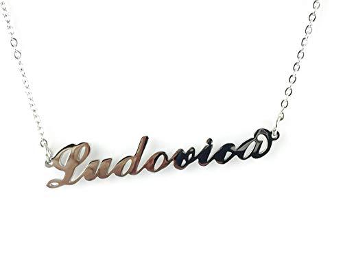Collana Donna con Nome LUDOVICA in Acciaio in corsivo Elegante Girocollo Regolabile Anallergico Color Argento Confezione Regalo Inclusa
