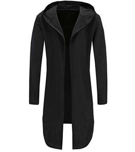 Colygamala Men's Fashion Long Cape Cardigan Sweatshirt Hoodie Black Cloak Outerwear 2017051802-b-L
