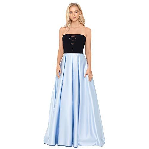 Criss Cross Bodice Party Dress - Strapless Long Satin Skirt Maxi Floor Length