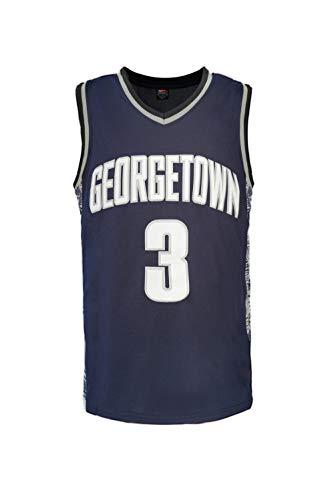 Nuker Mens Basketball Jersey Georgetown University #3 alleyoop Retro Embroidered (L, Black)