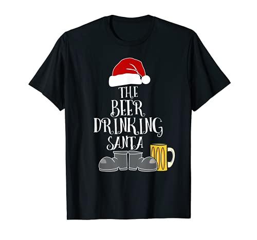 Disfraz de Papá Noel de Navidad con cerveza Camiseta
