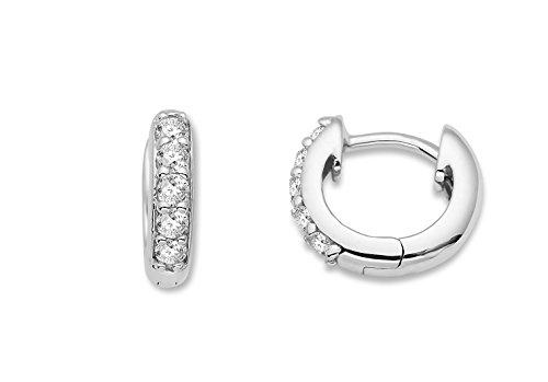 Miore Ohrringe Damen Creolen Silberfarbig 925 Sterling Silber mit Rundschliff Zirkonia Steinchen