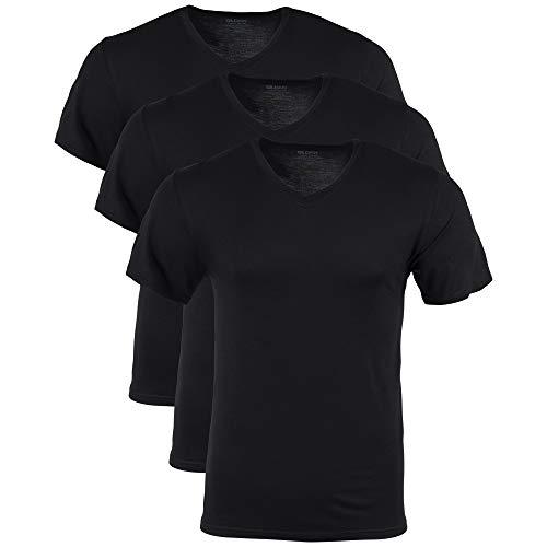 Gildan mens Modal V-neck T-shirts, 3 Pack Underwear, Black Soot, XX-Large US