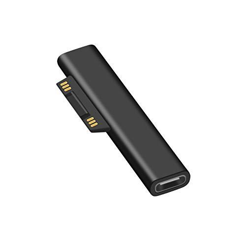 NEWZEROL USB C zu Oberflächenmagnet Ladeadapter kompatibel für Microsoft Surface Pro 3/4/5/6/7 / GO, Laptop 1/2 [15V / 3A] wirdt 45W / 65W Ladegerät mit PD-Schnellladegerät C-C-Kabel (nur Adapter)