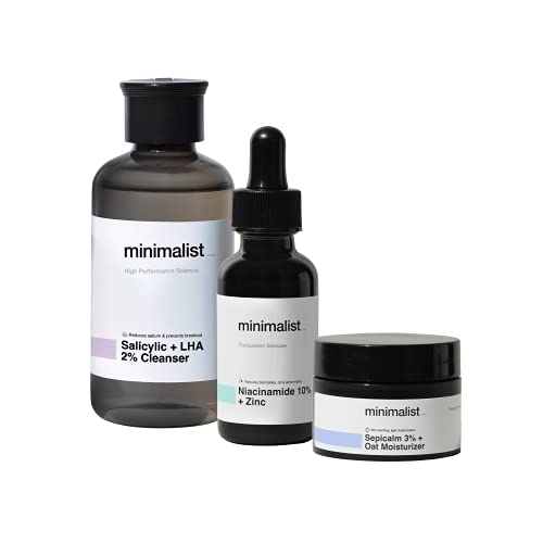 Minimalist Oil Control Skincare Routine (Cleanse – Treat – Moisturize)   Combo of Salicylic Acid Face Wash, Niacinamide Serum & Sepicalm with Oats Face Moisturizer   Pack of 3