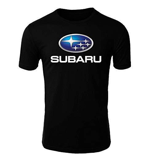 Subaru T-Shirt Logo Clipart Herren CAR Auto Tee TOP Black White Short Sleeves (XL, Black)