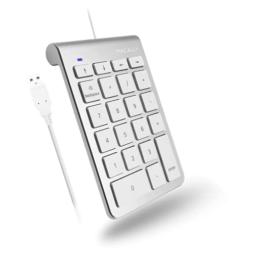 Macally USB Number Pad for Laptop - Plug and Play 10 Key USB Keypad for Mac and PC - Slim Wired Numeric Keypad for Laptop and Desktop with 22 Scissor Keys, Arrow Keys, and Ergonomic Slope - Silver