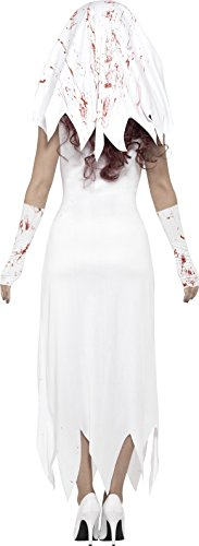 Smiffys Costume Sposa zombie, bianco, con abito, guanti e velo