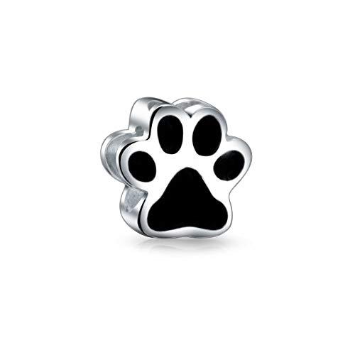 Negro forma paw imprimir perro gato gato gatito Bff mascota amante encanto cuenta para las mujeres adolescentes 925 plata se adapta a la pulsera europea