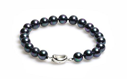 Schmuckwilli Muschelkernperlen Perlenarmband Perlen Armband schwarz Hochwertige 20cm mb0014-20 (8mm)