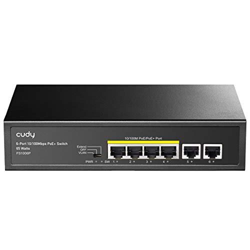 Cudy Switch Poe+ 6 Porte 10/100Mbps, 60W, 4 Porte Poe/Poe+, Switch Unmanaged, modalità CCTV, VLAN, No Alimentazione Aggiuntiva, FS1006P