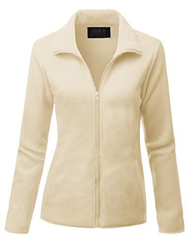 Doublju Womens Full Zip Fleece Jacket with Pockets Plus Beige 1X
