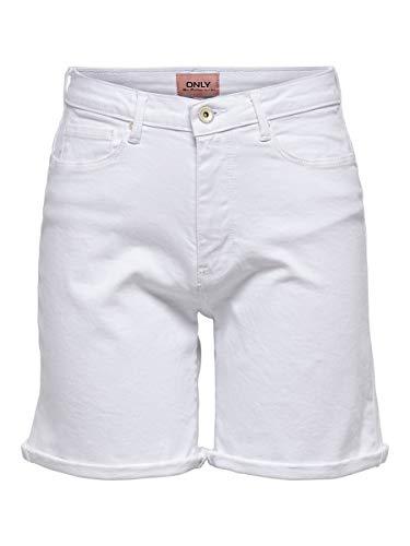 Only Onlpaola HW Shorts BB Azg Pantalocini Denim, Bianco, M Donna