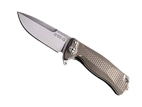 Lionsteel sr22.b Couteau SR, Lame Acier Sleipner satiné, Manche Monobloc Solid® 10 cm Titanium 6AL4V bronzé
