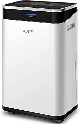 Deumidificatore elettrico ad alta efficienza, pasapair 20L/24H serbatoio dell'acqua da 6000 ml, modalità di asciugatura automatica silenziosa per camera da letto, armadio, cantina, ufficio, soggiorno