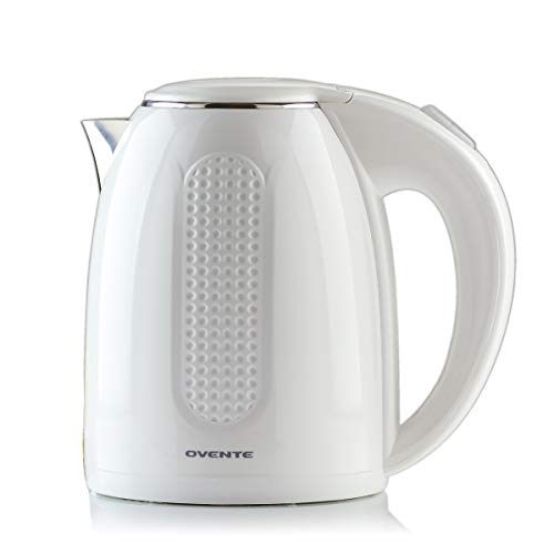 Ovente Electric Hot Water Kettle 1.7 Liter BPA-Free with Double Walled Stainless Steel, 1100 Watts with Fasting Heating Element and Auto Shutoff Boil Dry Protection, White (KD64W)