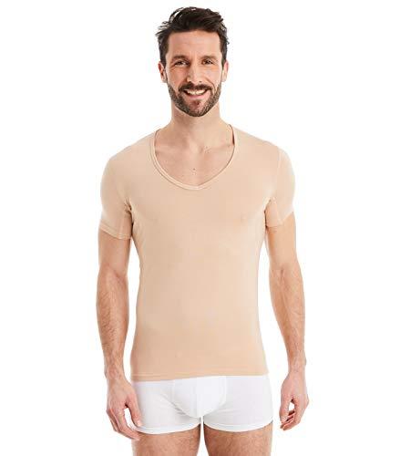 FINN Business Herren Funktions-Unterhemd - Atmungsaktives Unterziehshirt Männer mit Einsätzen Unsichtbare Hautfarbe Nude XXL