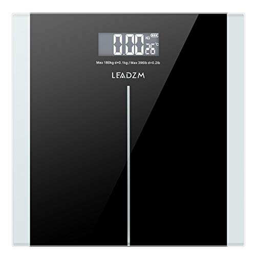 VAHIGCY Digital Body Weight Scale, High Accuracy 0.1lb Bathroom Scale with LCD Display, 400 Pounds Max, 1inch Ultra Slim Design,11x11inch (Black)