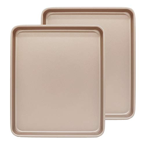 13 Inch Baking Sheets for Oven Set of 2, Shinsin Nonstick Cookie Pans for Baking, Heavy Gauge Steel Cookie Sheet Set 1-inch Deep w/Rimmed Border, Professional Baking Trays for Toaster Oven Replacement