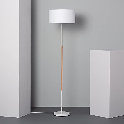 LEDKIA LIGHTING Lámpara de Pie Silinda 1595x400x400 mm Blanco E27 Casquillo Gordo Metal Decoración Salón, Habitación, Dormitorio