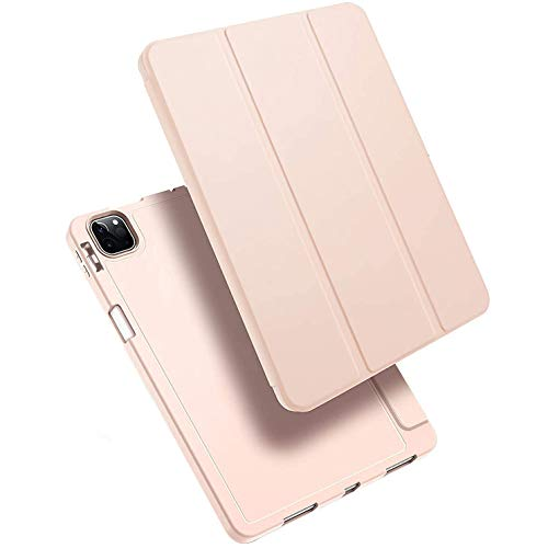 Case for iPad Pro 12.9 2020 with Pencil Holder, Full Body Protective Case with Soft TPU Back Cover (Support 2nd Gen Pencil Charging),Pink