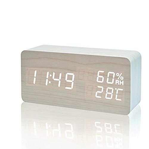 VABOO Sveglia in Legno, Sveglia LED in Legno, Orologio Digitale da Tavolo con Display Temperatura umidità Ore, 3 Livelli di Luminosità, Controllo Vocale,Orologio da Comodino Doppio Alimentatore