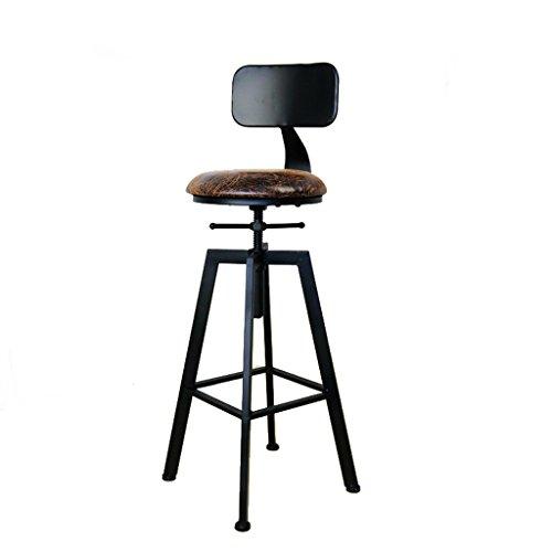 Tabouret de bar rétro en fer forgé, tabouret de café rotatif créatif (Color : Black)