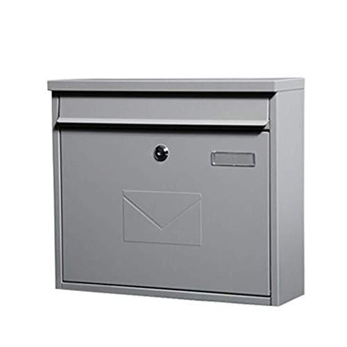 YJLGRYF Briefkasten Outdoor Mailbox Wall Mounted Sicherer Briefkasten Mit Schlüsselschloss Sicherheit Diebstahlsicherer Briefkasten Mit Deckel & 2 Schlüsseln (Color : Sand Gray)