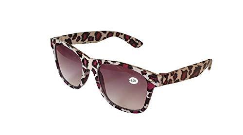Fads & Fashions Clásico Retro Hombre Mujer Grande Estilo Sol Lectores TN49SR - Beige Leopardo, 1.0+1.50+2.0+2.5+3.0