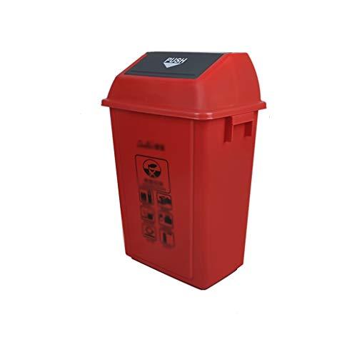 C-J-Xin Recycling Bins, Öffentliche Plätze Residential Area School Dustbins Rechteck Verschiedene Größen Müllcontainer Hohe Kapazität (Color : Red, Size : 44.5 * 32 * 76CM)