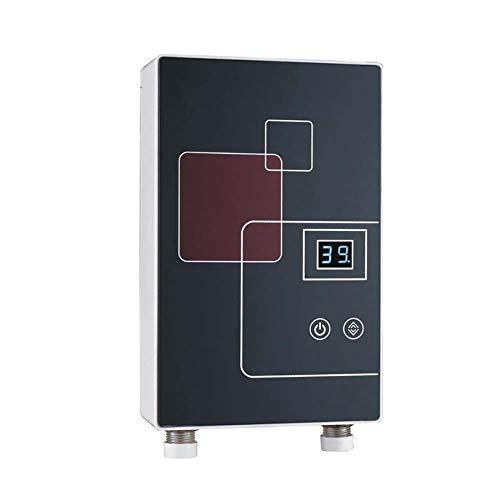 BTSSA Elektrischer Durchlauferhitzer 6000W Warmwasserbereiter Ohne Tank Einstellbare Temperatur Für Die Sofortige Warmwasserversorgung Badezimmerzubehör Mit Duschset,Schwarz