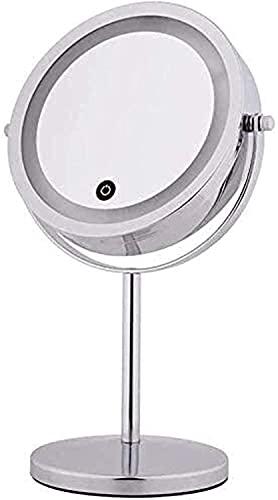 YGCBL Espejo de Pared, Espejos para el Hogar de Doble Cara Ed 7 Pulgadas con Led con S, Tocador de Aumento con Soporte, Escritorio con Tablero de Rotación de 360 °, Espejos de Baño de Pared