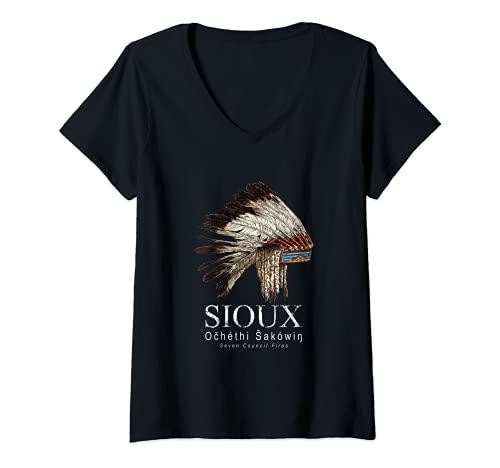 Mujer Sioux-Lakota, Dakota-Gorra de guerra-Nativo americano-Indio Camiseta Cuello V