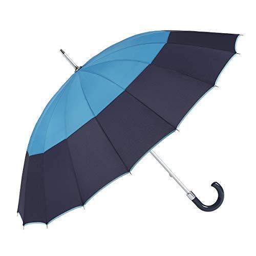 GOTTA Paraguas Largo y Grande de Mujer, 16 Varillas. Antiviento, Manual y con puño Curvo de plástico. Tejido Liso Tricolor - Azulón-Azul-Verde Menta, 19