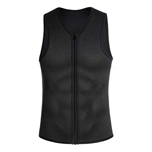 Camuflaje Quemador de Grasa Moldeador Corporal para Hombres Ocultar Pechos Control de Barriga Camisetas sin Mangas de compresión de Neopreno Cremallera Entrenador de Cintura