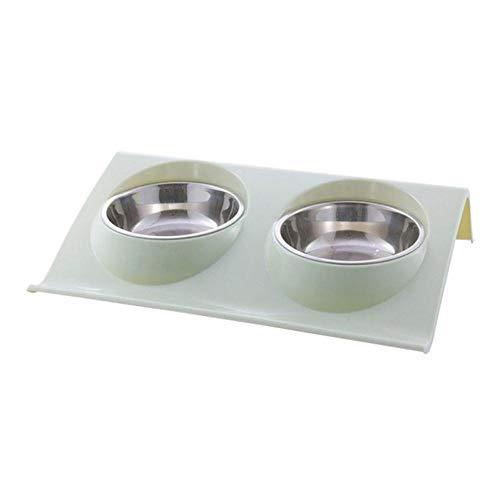 SJYM 1Pcs Recipiente de alimentación doble para mascotas Antideslizante Alimentador de agua de doble alimento de acero inoxidable Recipiente de alimentación para perros y gatos Fácil de limpiar, QG, S
