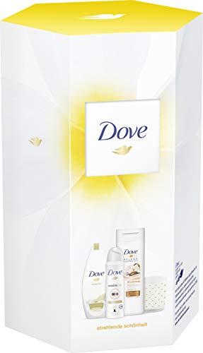 Dove Geschenkset Strahlende Schönheit(Body Lotion + Cremedusche + Deospray + Kerze)400 ml + 250 ml + 150 ml