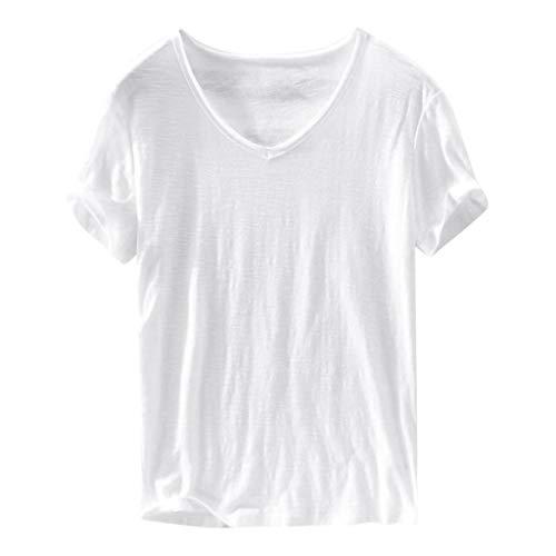 Dasongff vrijetijdsshirt, V-hals met korte mouwen, T-shirt, basic, casual thee, zomer, top, comfortabel, solide onderhemd, modieus T-shirts in verschillende kleuren XXXL wit