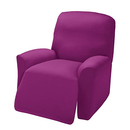 Madison Stretch Jersey Purple Large Recliner Slipcover, Solid