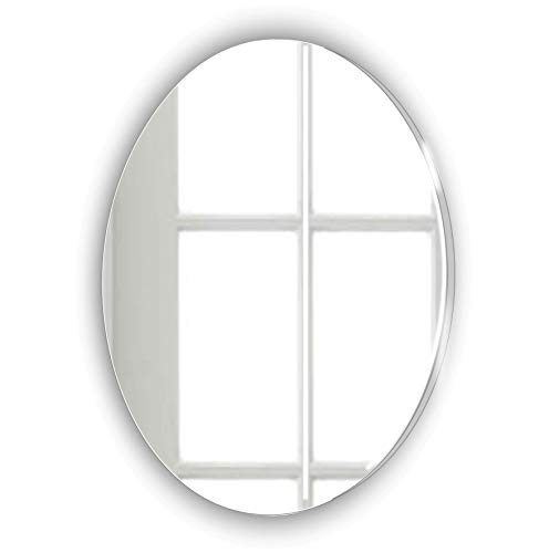 Frameless Oval Glass Look Acrylic Mirror   Stick on