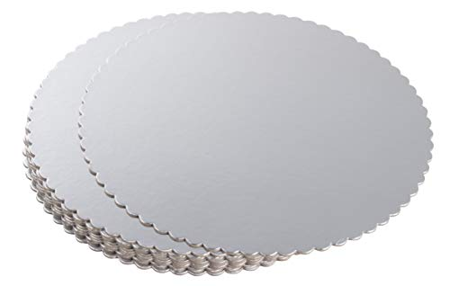 12-Pack Round Cake Boards, Cardboard Scalloped Cake Circle Bases, 10 Inches Diameter, Silver