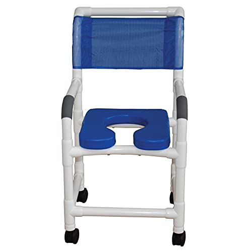 MJM International 118-3TW-SSDE-BL Standard Shower Chair with Soft Seat in Blue