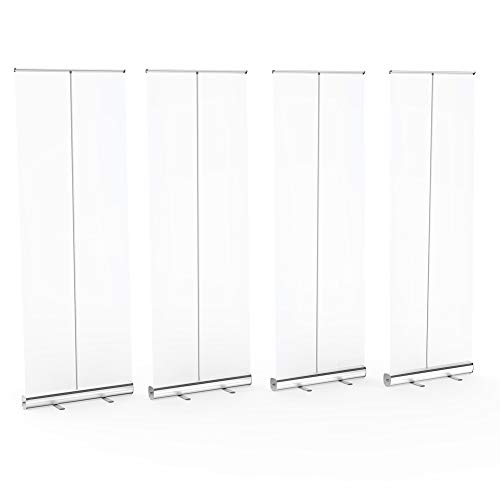 【4 Pack】Floor Standing Sneeze Guard, LeStore 80' H 32' W Portable Pull-Out Banner with Clear Screen Shield for Office, Stores, Restaurant, Classroom, and More