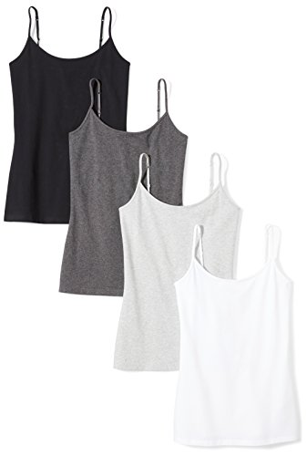 Amazon Essentials Women's 4-Pack Slim-Fit Camisole, Black/White/Charcoal Heather/Light Grey Heather, Medium