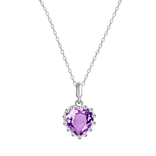 YXDEW Luck Pendant Chain Necklace Natural Amethyst Healing Crystals Necklace Heart Pendant Necklaces Quartz Jewelry For Womens Girls Ladies Necklace for Women honored