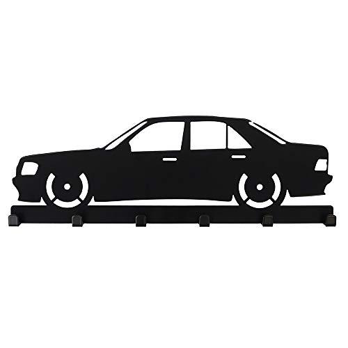 Schlüsselbrett Mercedes Benz W201 E190 Car Oldtimer Optik schwarz - 6 Haken Garderobe Schlüsselboard Hakenleiste Dekoration