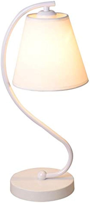 Zhang Yan ZYY Einfaches Tuch Bedsides Schreibtischlampe Mode Schlafzimmer Arbeitszimmer Tischlampen Wohnzimmer Tischleuchte (wei)