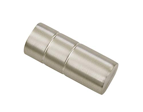 Gardinia Zylinder, 2 x Endstück, Metall, Silber-Satin, für Gardinentechnik Ø 19 mm