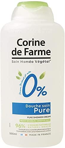Corine de Farme Gel Douche 0% Pure - Lotion Lavante pour Peau Sensible - Formule Naturelle et Hydratante Sans-Parfum et Sans-Colorant, pH Neutre - Flacon à 100% d'Origine Végétale - Format 500 ml