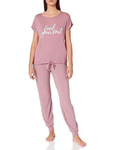 Women' Secret Pijama Largo Manga Corta Punto, Rosa, S para Mujer